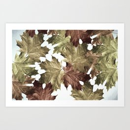 Faded Autumn Leaves Art Print