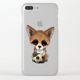 Cute Baby Fox With Football Soccer Ball Clear iPhone Case
