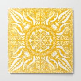 Mellow Yellow Botanical Folk Tile  Metal Print