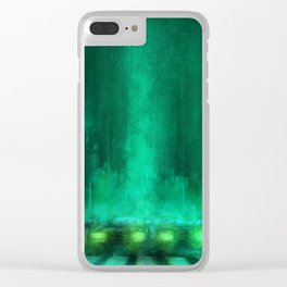 Line of Cars under Green Rain Clear iPhone Case