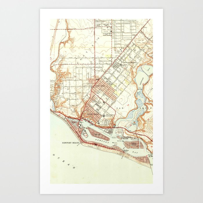 Map Of California Newport Beach.Vintage Map Of Newport Beach California 1951 Art Print By Bravuramedia