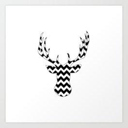Zig Zag Modern Deer Head Art Print