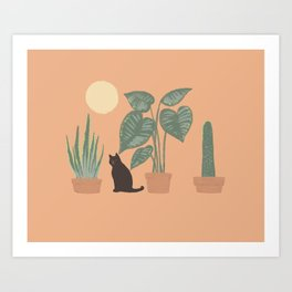Hidden cat 10 plants good day Art Print