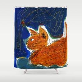 Socca Ginger Cat Art Shower Curtain