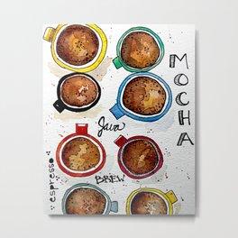 Watercolor - CUPS, Coffee Art Metal Print