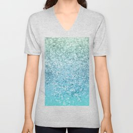 Seafoam Aqua Ocean MERMAID Girls Glitter #1 #shiny #decor #art #society6 Unisex V-Neck