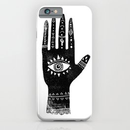 Hand with eye linocut black and white minimal boho third eye hamsa iPhone Case