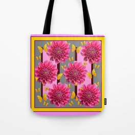 PINK DAHLIAS YELLOW BUTTERFLIES GREY ART Tote Bag