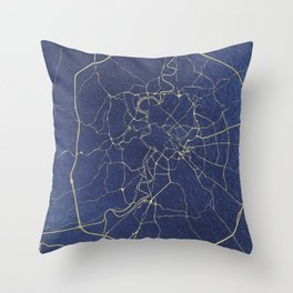 Rome Blue and Gold Street Map Throw Pillow