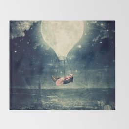 Moon Reverie over Paris Throw Blanket