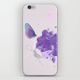 Purple butterfly & flower watercolor illustration painting iPhone Skin