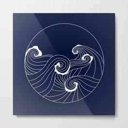 MONOCHROME WAVES NAVY Metal Print