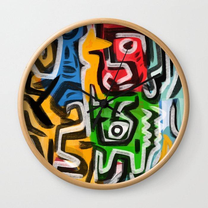 Primitive street art abstract Wall Clock