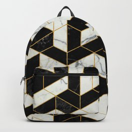 Black and White Marble Hexagonal Pattern Backpack