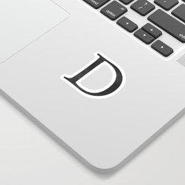 Letter D Initial Monogram Black and White Sticker