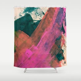 Expand [2]: a colorful, minimal abstract piece in pinks, green, and blue Shower Curtain