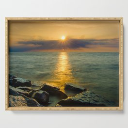 Coastal Landscape Photograph Sun Ray on the Water Beach Art Serving Tray