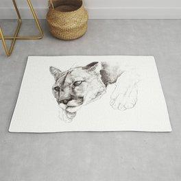 Sketch Of A Captived Mountain Lion Rug
