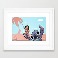 lilo and stitch Framed Art Prints featuring Lilo and Stitch by Gaetano Caltabiano Design