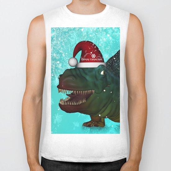 T-rex, merry christmas Biker Tank