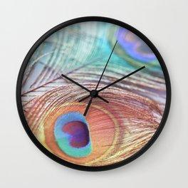 Pastel Boho Peacock Wall Clock
