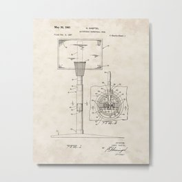 Adjustable Basketball Goal Vintage Patent Hand Drawing Metal Print