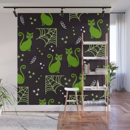 Halloween cats green party Wall Mural
