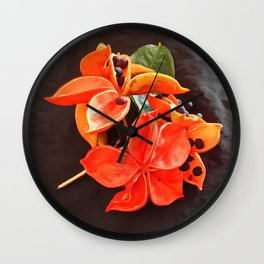 STUNNING ORANGE BLOOMS Wall Clock