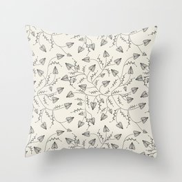 Beautiful herbs. Black and white pattern . Throw Pillow