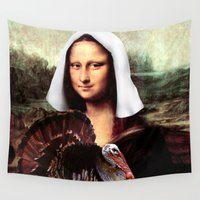 mona lisa Wall Tapestries featuring Mona Lisa Thanksgiving Pilgrim  by Gravityx9