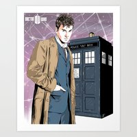 david tennant Art Prints featuring Doctor Who - David Tennant by Averagejoeart