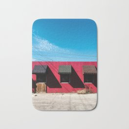 Red Building with Shadows Bath Mat