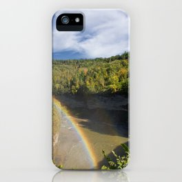 Rainbow at Lower Falls at iPhone Case