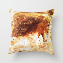 My horhe - with textures Throw Pillow