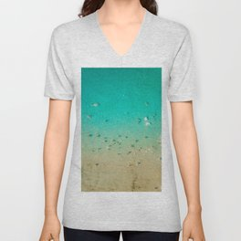 I'm A True Oceanholic | Aerial Beach Photography | Beach Wall Art Poster | People Having Fun | Ocean Unisex V-Neck