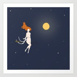 Witch flying in moonlight Art Print