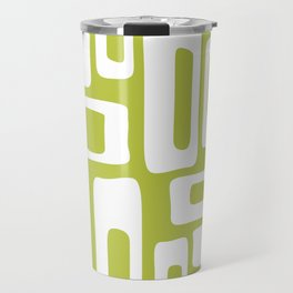 Retro Mid Century Modern Abstract Pattern 335 Chartreuse Travel Mug