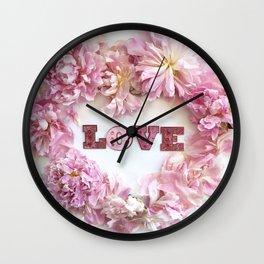 Pink Peonies Shabby Chic Romantic Love Heart Print Home Decor Wall Clock