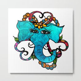 Floral Elephant Metal Print