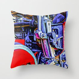 Blue And Red Grunge Mechanical Drives Of A Vintage Steam Engine Locomotive Throw Pillow