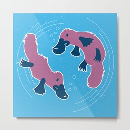 Platypus Friends, Swimming and Playing Metal Print
