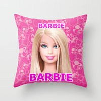 barbie Throw Pillows featuring Barbie by Maxvision