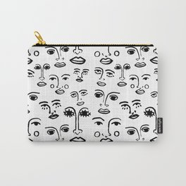 Funky Faces in White Carry-All Pouch