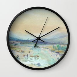 River In The Foothills 1889 By Lev Lagorio | Reproduction | Russian Romanticism Painter Wall Clock
