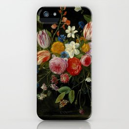 "Jan van Kessel de Oude ""Tulips, peonies, chicory, carnations, cherry blossom and other flowers"" iPhone Case"