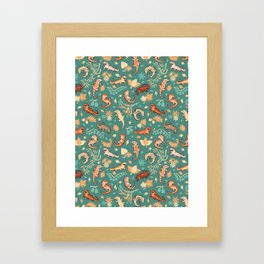Autumn Geckos in green Framed Art Print