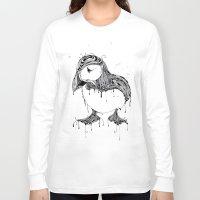 puffin Long Sleeve T-shirts featuring Hawt Puffin by Gwyn Hockridge