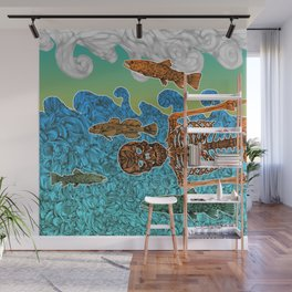 Vacations of a Skeleton whit his friends...the fish Wall Mural
