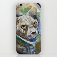 space cat iPhone & iPod Skins featuring Space Cat by Michael Creese