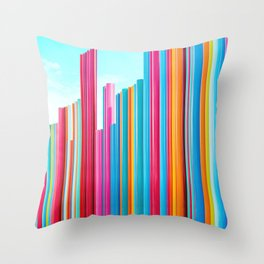 Colorful Rainbow Pipes Throw Pillow